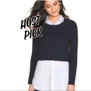 White House Black Market Navy Cropped Sweater
